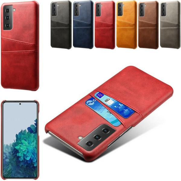 Samsung S21 Plus skal fodral skydd skinn kort visa mastercard - Svart S21+