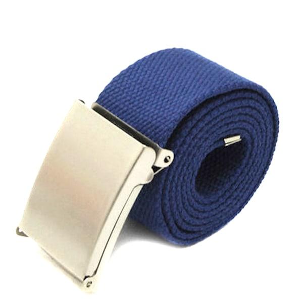 Skärp i marin blått canvas tyg bälte unisex justerbar längd Marinblå