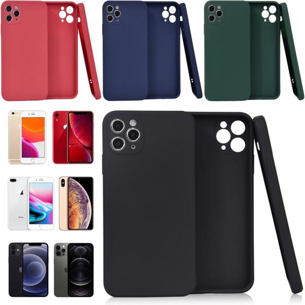 Välj TPU skal Iphone 12/11/XS/X/XR/8/7/6 +/pro/max/mini fodral - Mörkgrön Iphone 7/8