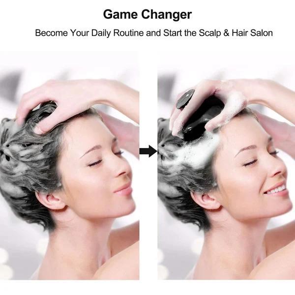 Borste för massage och peeling av håret / hårbotten Svart Black