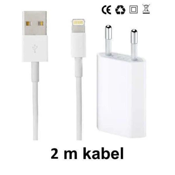 iPhone Laddare / Väggladdare och Lightning kabel 2m Vit White