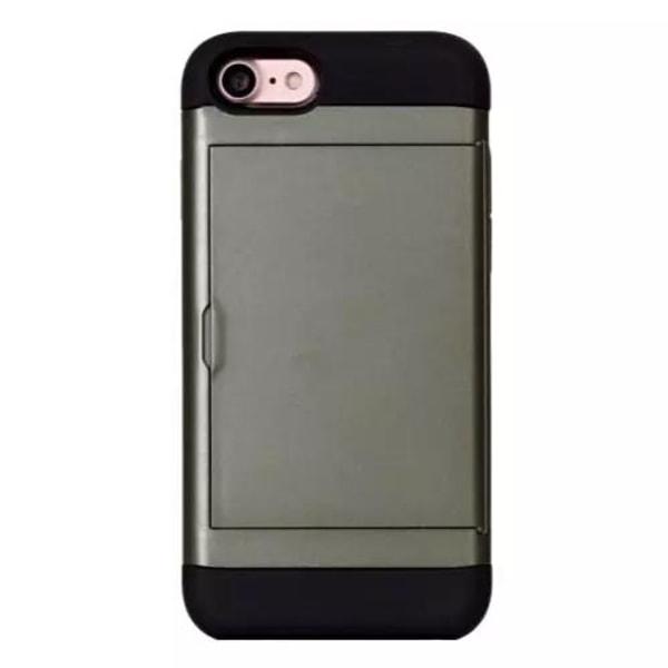 Mobilskal med kortplats iPhone 7/8/SE 2020 Armégrön Green Apple iPhone 7/8/SE