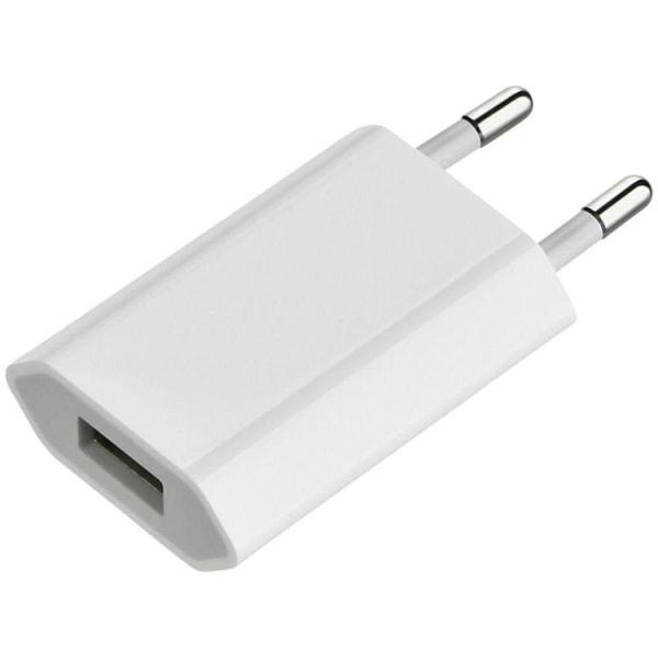 Laddare/Väggladdare USB till iPhone, Samsung m.fl. 1A - Vit White