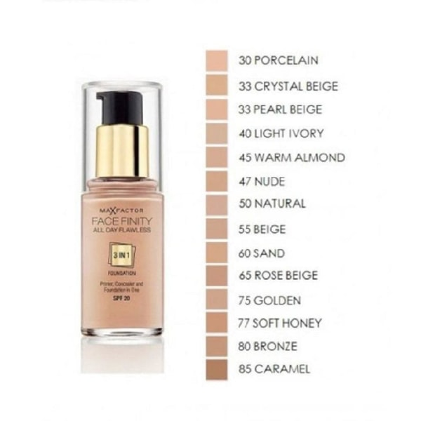 Max Factor Facefinity 3 In 1 Foundation 45 Warm Almond Transparent