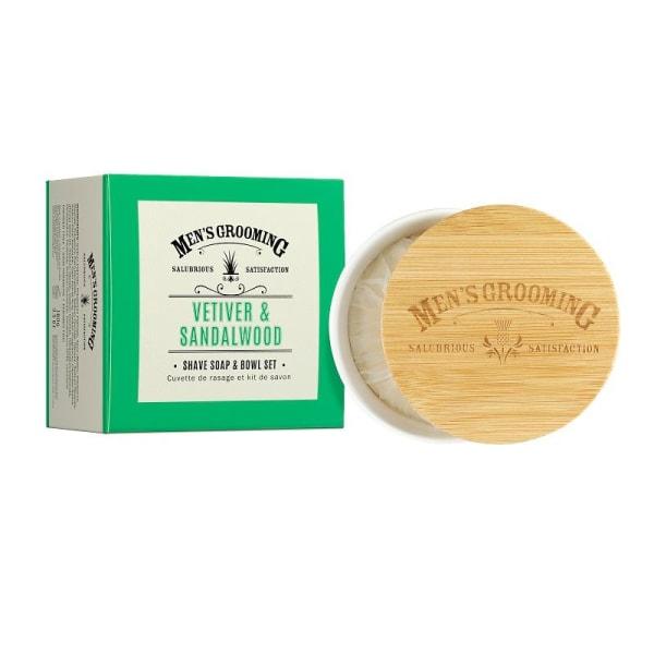 Scottish Fine Soaps Vetiver & Sandalwood Shave Soap & Bowl Set 1 Transparent