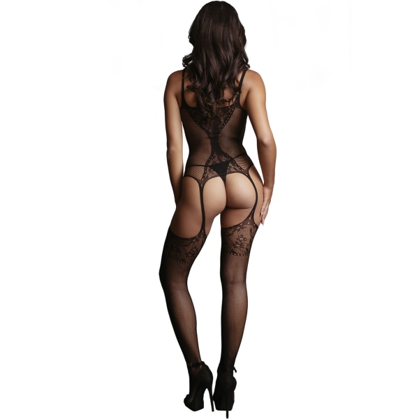 Le Désir: Bodystocking Fish Net and Lace, One Size Svart one size