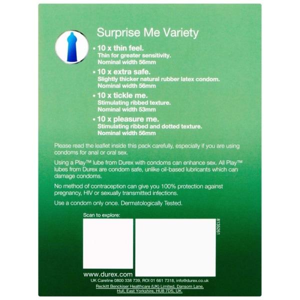 Durex Surprise Me Variety: Kondomer, 40-pack Transparent