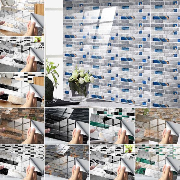 12/24/48st Kakelklistermärken Självhäftande dekaler Vattentät Grön marmor 48 st