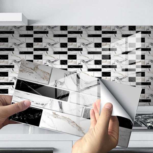 12/24/48st Kakelklistermärken Självhäftande dekaler Vattentät Svart marmor tegel 24 st