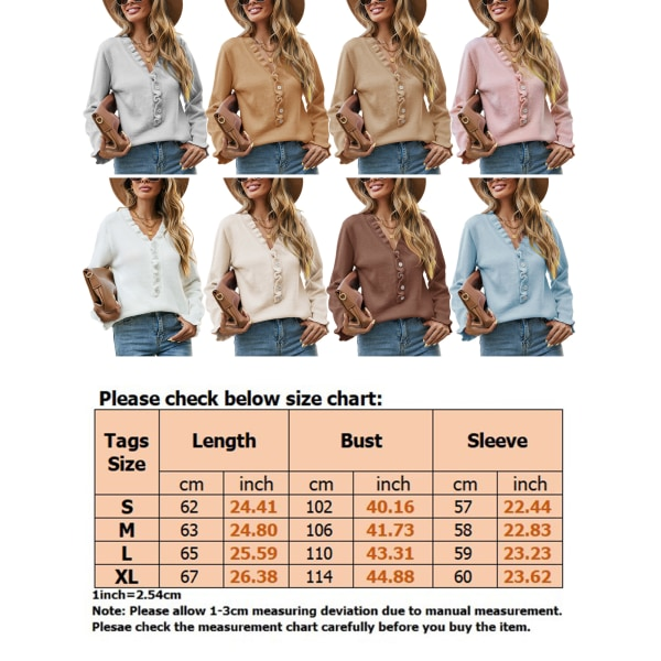 Kvinnors vanliga rynkade smala stickade tröja Ny topptröja Aprikos XL