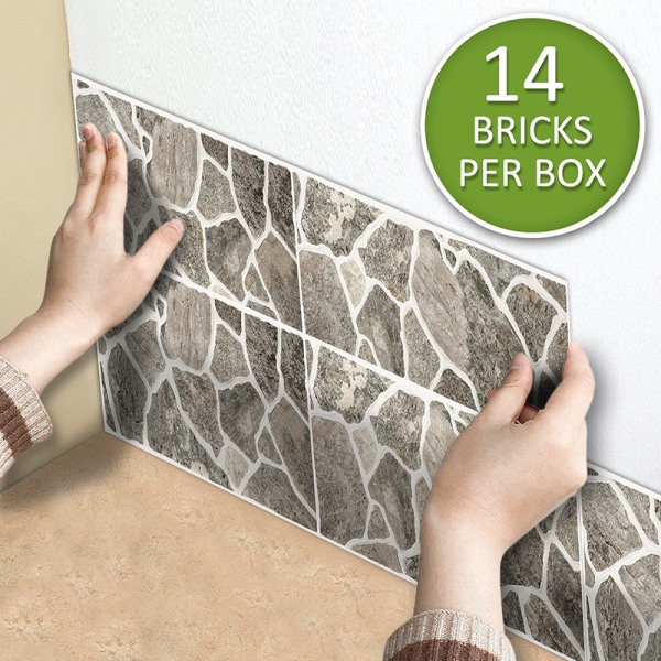 14st kakel klistermärken mosaik självhäftan väggdekor vattentät Natursten 55x13.5cm