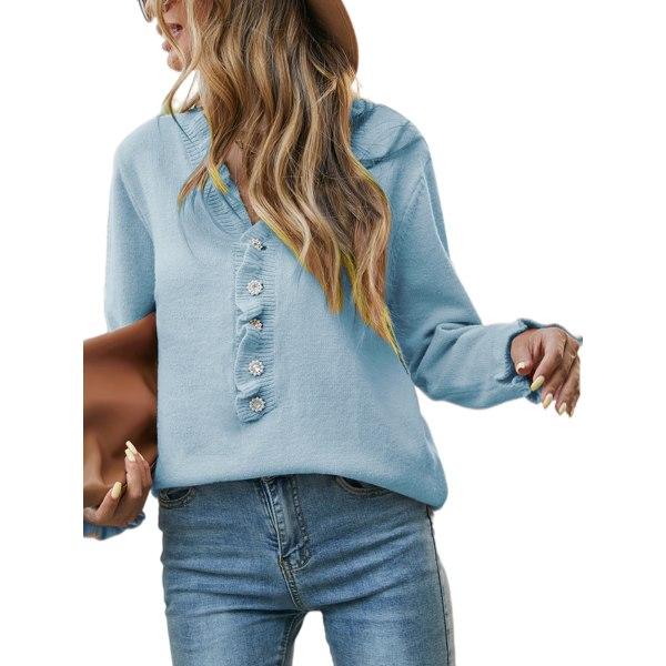 Kvinnors vanliga rynkade smala stickade tröja Ny topptröja Blå XL