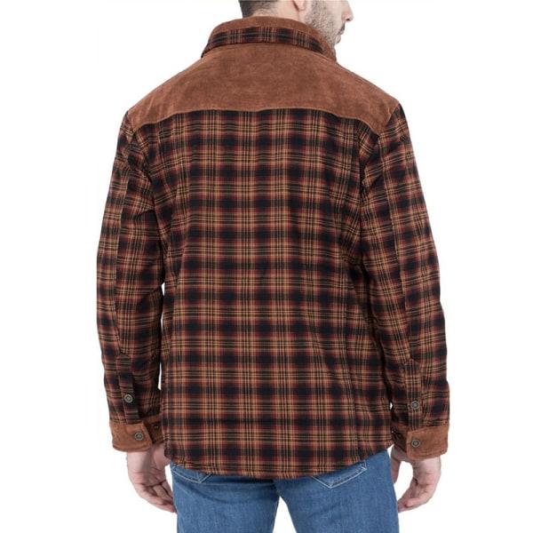 Herr Vindtätt Fleecefoder Trendig Skjorta Med Rutmönster Rödbrun L
