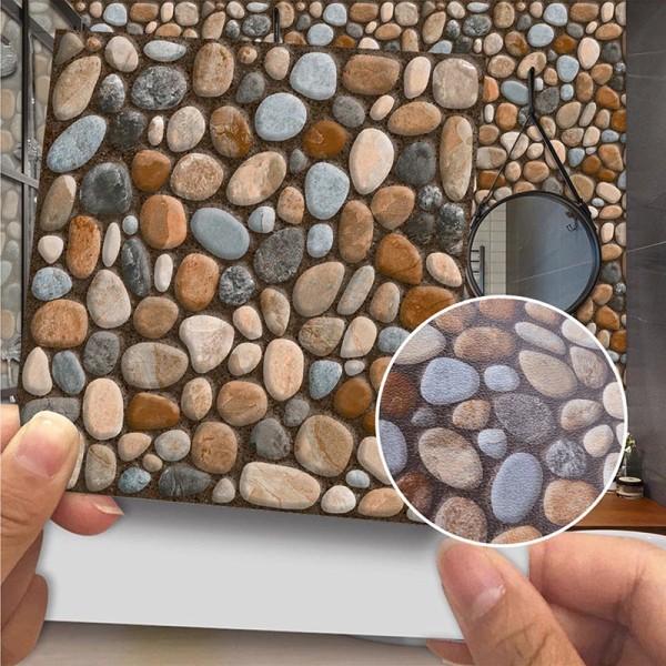 20st moderna kakelväggdekaler självhäftande hemväggdekor 16 # Brun sten 10x10cm