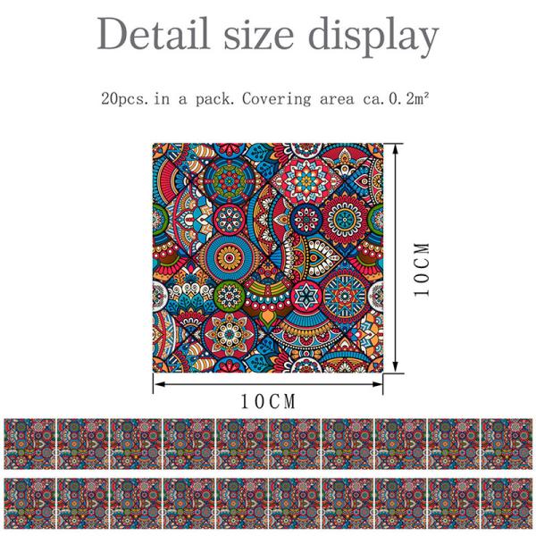20st moderna kakelväggdekaler självhäftande hemväggdekor 2 # Röd blommig 10x10cm