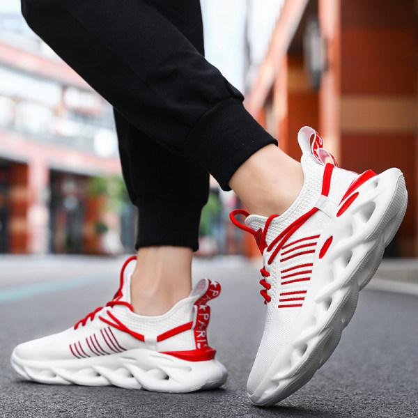 Unisex löparskor mode fritidsskor sportskor Vit Röd 41