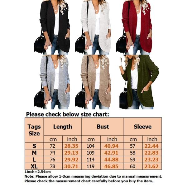 Kvinnors höstkofta V-ringad stickad tröja långärmad jacka Svart M