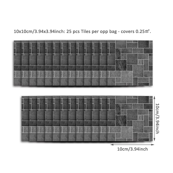 25st 3D kakelklistermärken Mosaikdekaler Självhäftande väggdekor Svart sten 10x10cm