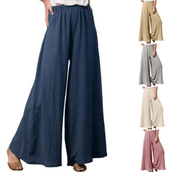 Plus Size Ladies Pants Baggy Sweatpants Wide Pants Casual Pants Mörkblå L