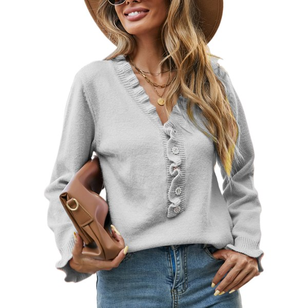 Kvinnors vanliga rynkade smala stickade tröja Ny topptröja Grå M