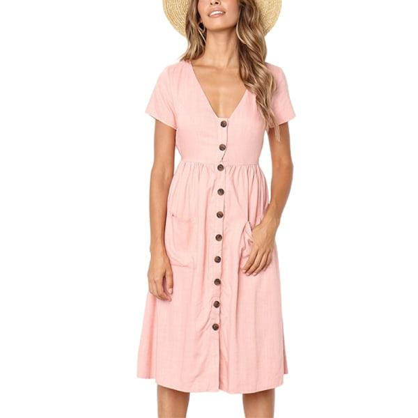 Kvinnors avslappnad klänning kortärmad T-shirt Rosa L