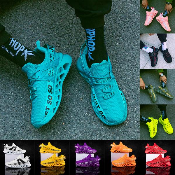 Unisex enfärgade sneakers bokstavstryckta fritidsskor Vit Svart 47