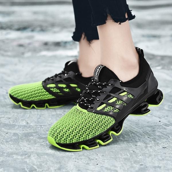 Herrskor med mjuksula sportskor snörning av casualskor löparskor Grön svart 1 38