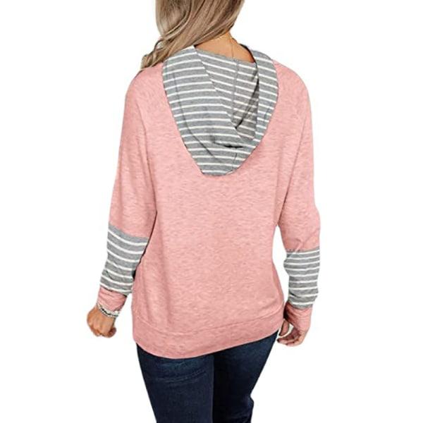Kvinnors mode randiga sömmar långärmad T-shirt lös tröja Rosa S