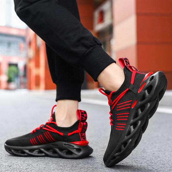 Unisex löparskor mode fritidsskor sportskor Svart Röd 45