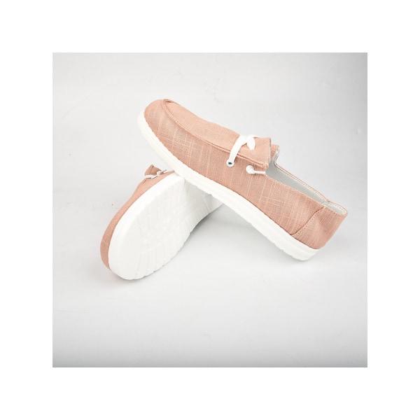 Abtel dam runda tå canvas skor casual sportskor platta skor rosa 39