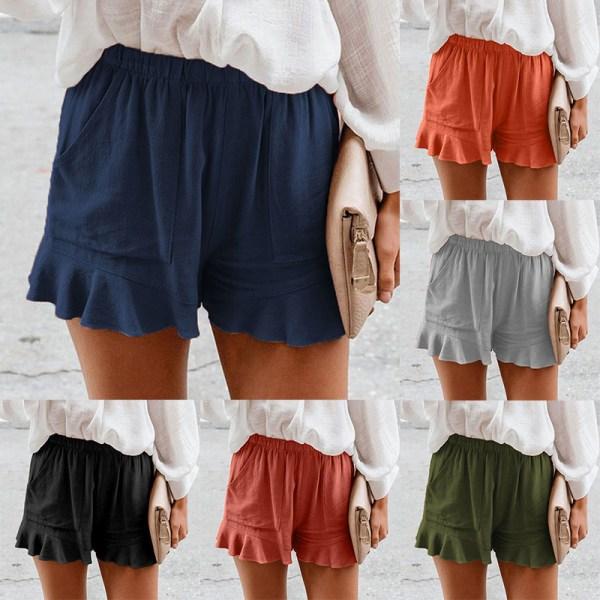 Sommarshorts För Kvinnor Sportbyxor Baggy Beach Ruffle Hot Pants Army Green 5XL