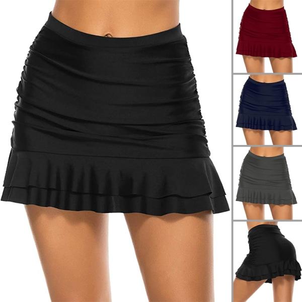 Badbyxor För Kvinnor Badkjolar Ruffle Bikini Bottom Dress Mörkblå XL