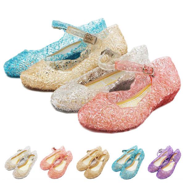 Barn flickor mode kristall sandaler platta ihåliga casual skor Vit 25