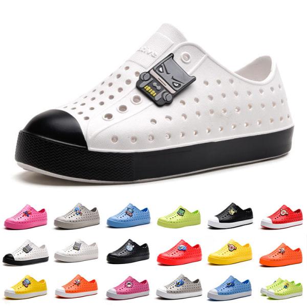 Barn pojkar och flickor ihåliga casual skor mjuka sulor sandaler Orange Vit 27