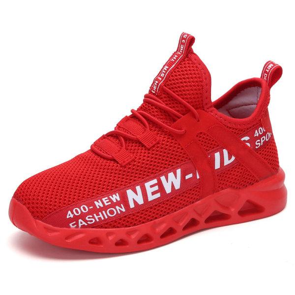 Barn pojkar och flickor mesh avslappnade skor löparskor Röd 33