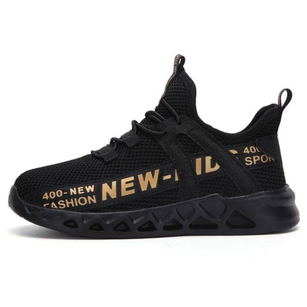 Barn pojkar och flickor mesh avslappnade skor löparskor Svart Guld 38
