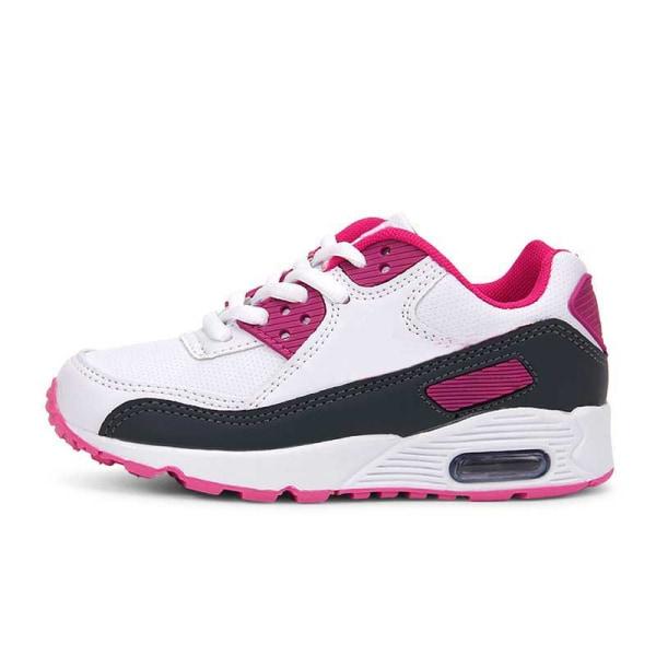Barn pojkar och flickor snörning avslappnade skor andas sneakers Vit Rosa 25