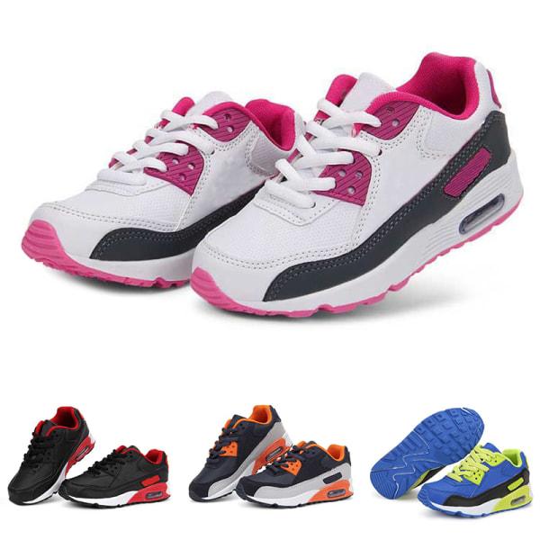 Barn pojkar och tjejer tänder casual skor andas sneakers Röd Svart 34