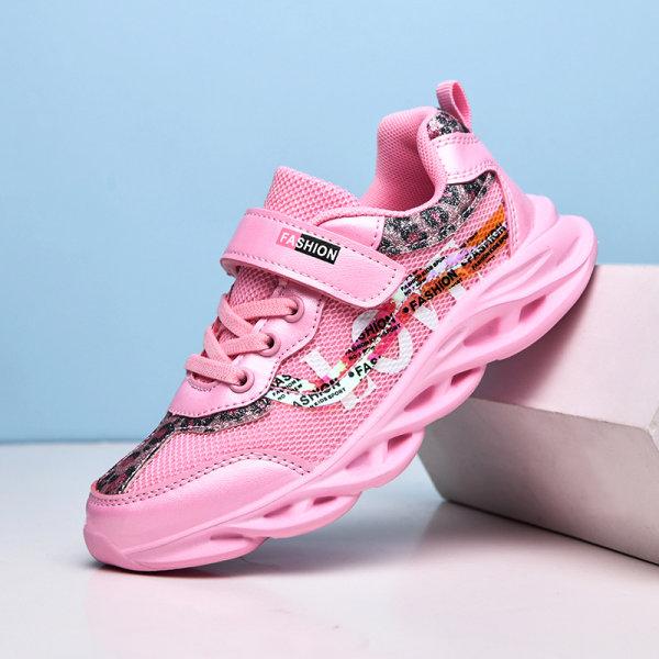 Barns mesh sneakers träningsskor andningsbara casual skor Rosa 34