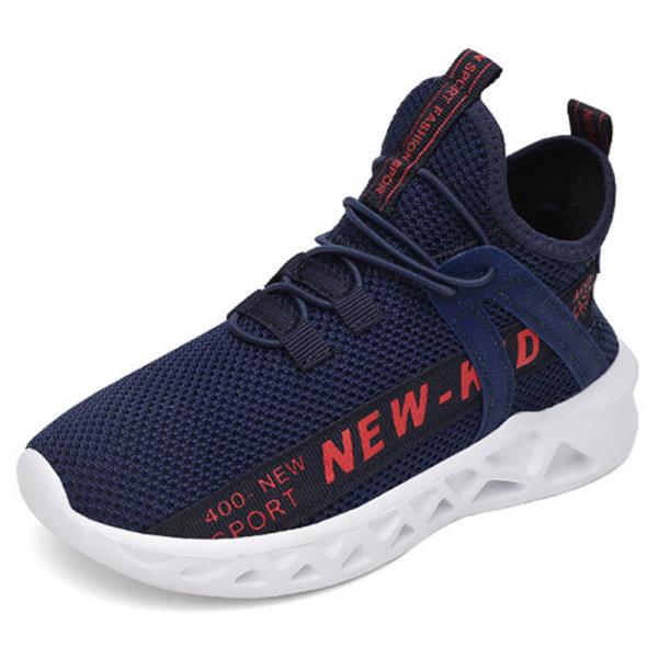 Barns pojkar och flickor avslappnade skor mjuka sulor sneakers Mörkblå Röd 26