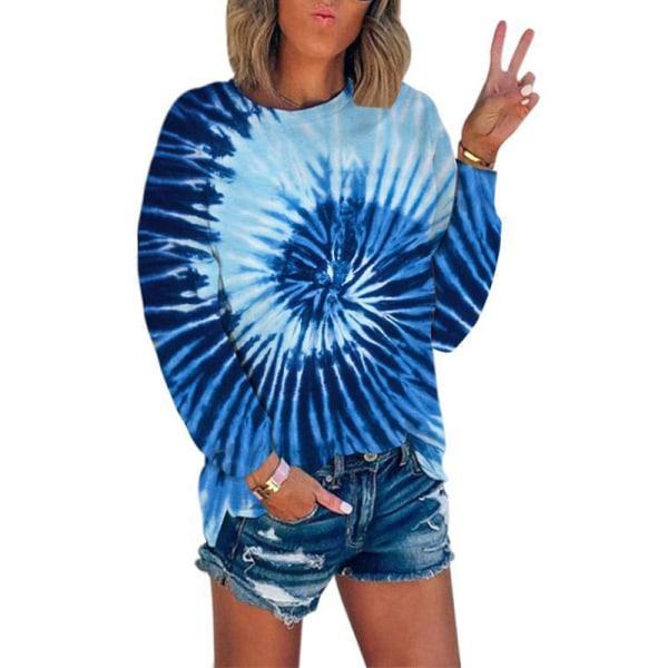 Kvinnors lösa tröja Fritids T-shirt Split långärmad topp Blå M