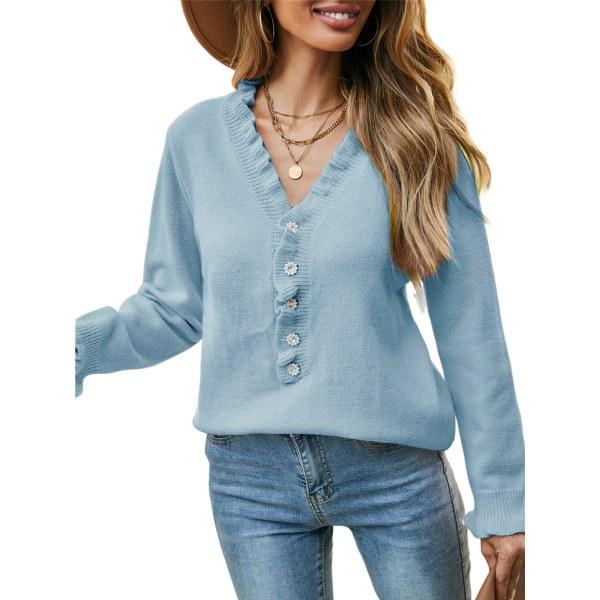 Kvinnors vanliga rynkade smala stickade tröja Ny topptröja Blå S