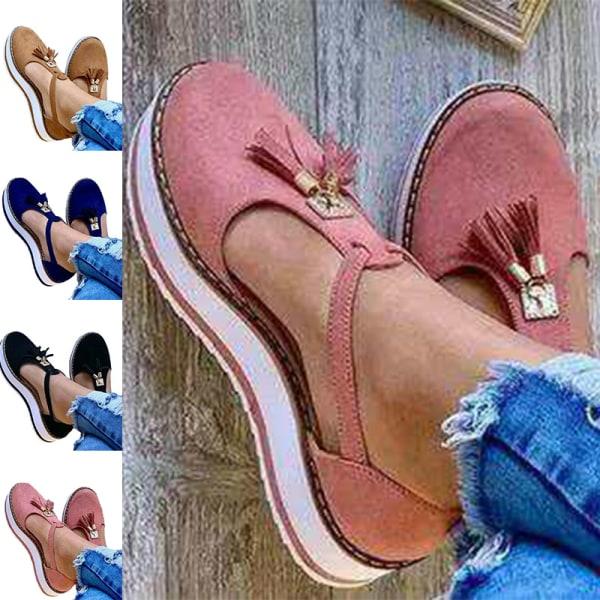 Dam casual sandaler cool mockaskor plattform Rosa 39