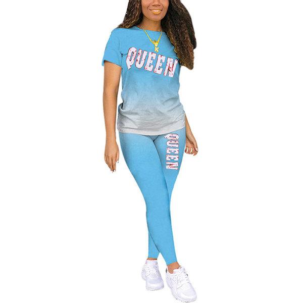 Dam Gradient Nattkläder Kortärmade Toppar Byxor Lounge Sets Ljusblå S