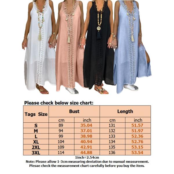 Dam Lace V-Hals Maxiklänning Sommar Beach Side Slit Sundress Ljusblå XL
