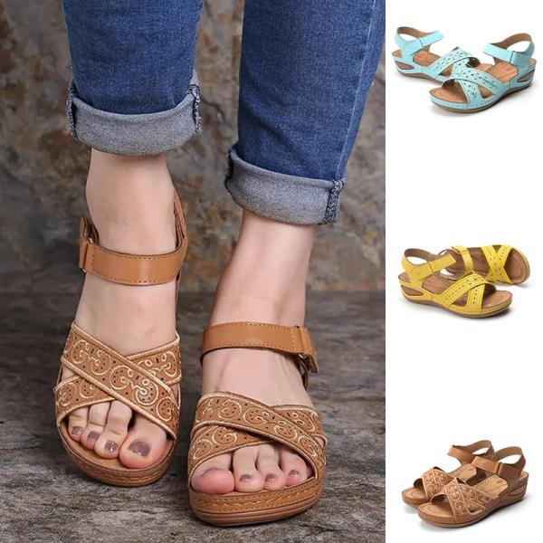 Dam klassiska sandaler sommar hälsosamma platta skor andas kaki 39