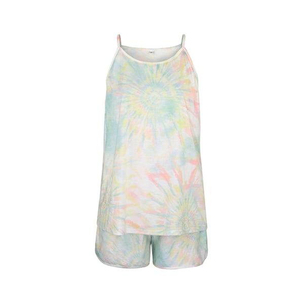 Dam Nattkläder Ärmlös T-shirt Shorts Pyjamas Vardagsklädsel Ljusgrön L