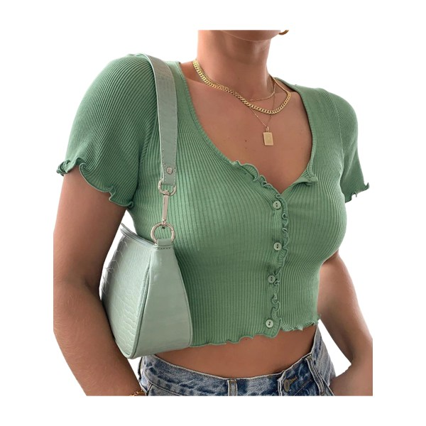 Dam sommar kortärmad sexig t-shirt enfärgad tröja grön XL