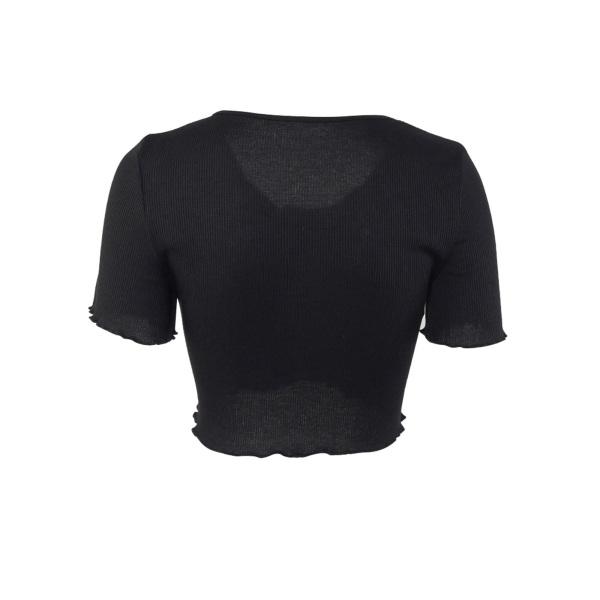 Dam sommar kortärmad sexig t-shirt enfärgad tröja svart L