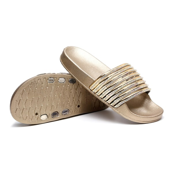 Dam vattentäta strandskor diamant tofflor mode sandaler gyllene 38